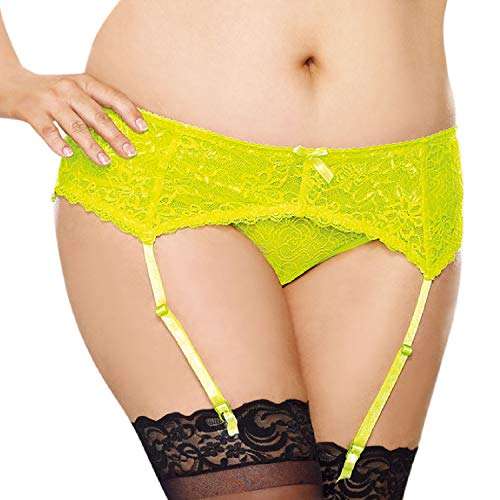 (Dreamgirl Women's Plus-Size Sultry Nights Garter Belt, Lime, Queen Size )