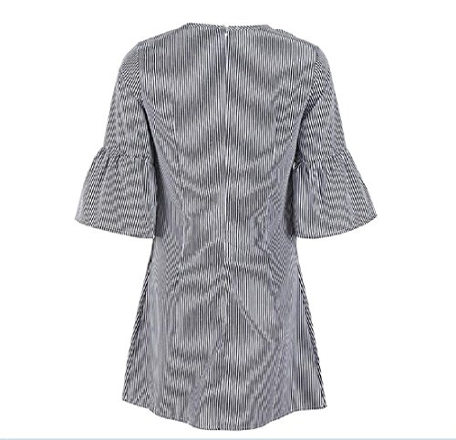 Skinny Length Black Striped Mid Dress Sleeve Womens Embroidery Flare Comfy Zn1R6R