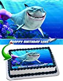 Shark Edible Image Cake Topper Personalized Birthday 1/4 Sheet Decoration Custom Sheet Party Birthday Sugar Frosting Transfer Fondant Image ~ Best Quality Edible Image for cake