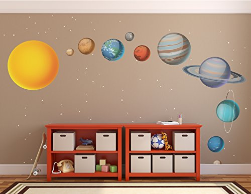 X-Large Solar System Wall Decals // Large Planets Wall Stickers // Planet Decals // Realistic Solar System Bedroom - WDSET10019-B45 by Go Go Dragon