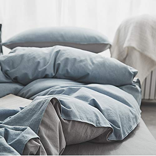 - Joyreap 3 Pieces Duvet Cover Set King, 100% Washed Cotton, Ultra Soft, Breathable & Cozy, Simple Reversible Solid Color Duvet Cover with Zipper Closure & Corner Ties (Gray-Blue, King)