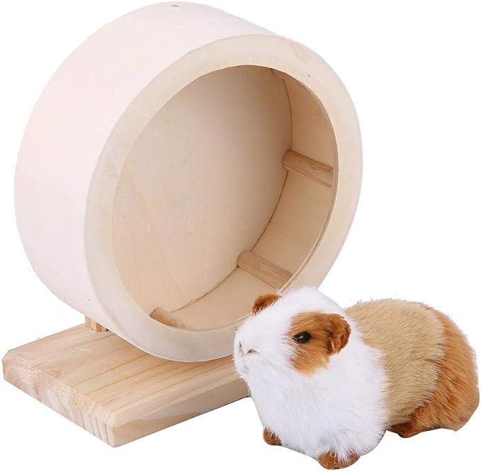 Rueda para hámster de madera silenciosa para hámster, rueda de ejercicio antideslizante, para hámster, ratones, ratones, chinchillas, mascotas pequeñas (M)