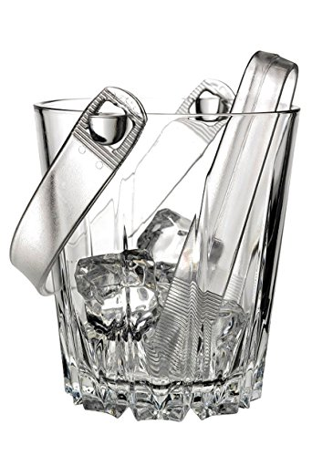 Cut Glass Ice Bucket (Italian Crystal Glass Ice Bucket with Tongs, 30 oz)
