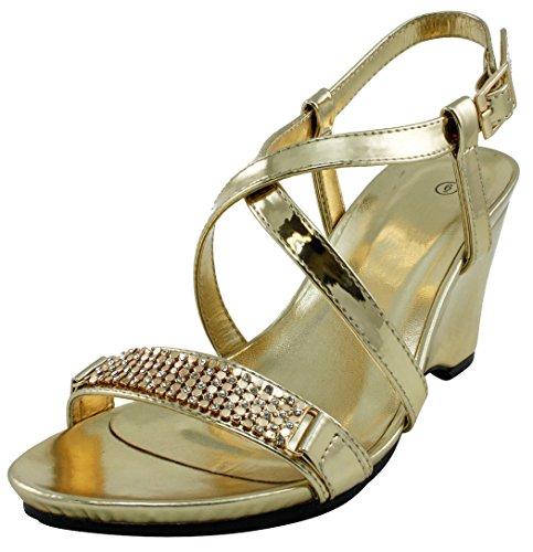 Cambridge Selezionare Donna Open Toe Cristallo Strass Incrociato Strappy Piattaforma Cuneo Vestito Oro Sandalo