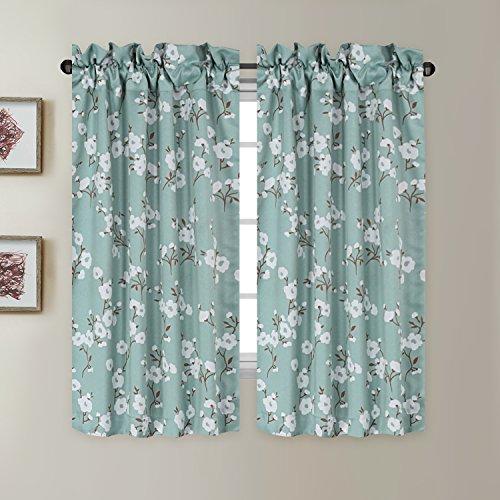 H.VERSAILTEX Blackout Energy Saving Ultra Soft Casual Kitchen Curtains, Rod Pocket Window Curtain Tiers for Café, Bath, Laundry, Bedroom - Aqua Floral Pattern - (58