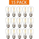 Bulbright 15 PACK S14 2W LED Filament Light Bulb, For Patio String Lights, E26 Base, Warm White 2700-3000K, 20W Equivalent, 110-120VAC, Non-Dimmable UL-LISTED