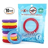 OUTXPRO 10 Natural Mosquito Insect Repellent Bracelets - Family Pack - No Deet Pest Control Bug Repelling Wristbands Multi Colored Single Pack Super Effective 250 Hours Protection Each Band