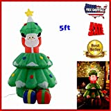 5ft Airblown Inflatable Santa Claus On Tree Illuminated led lights Christmas Xmas Seasonal Indoor Outdoor Decor Lighted Air Blower Self Inflated.Bring Holiday Home With This Unique Blow Up Figure.