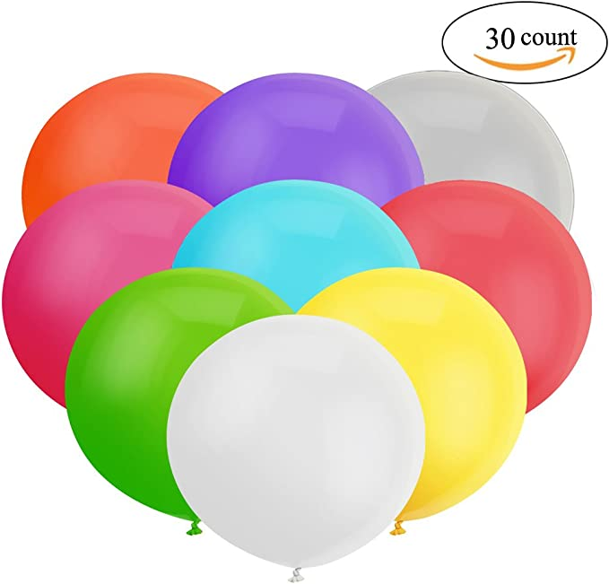 NUOLUX 12 Inch Latex Balloons Blue Balloons for Wedding Party,3 Colors,30pcs