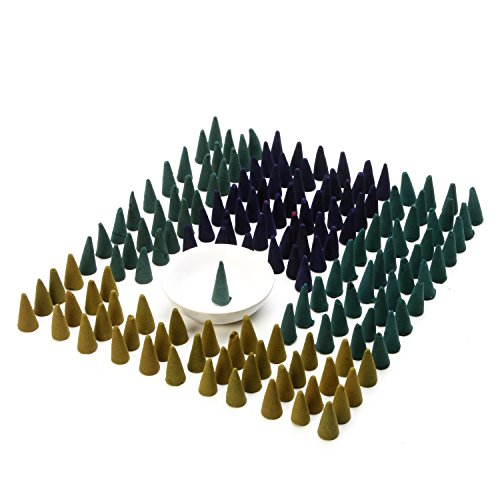 Hosley's Assorted Incense Cones 150 Pack with Ceramic Cone Burner, Infused with Essential Oils Fragrances: Spiritual, Linen, Hawaiian Mist, Lavender. Ideal for Aromatherapy, Meditation, Spa O7