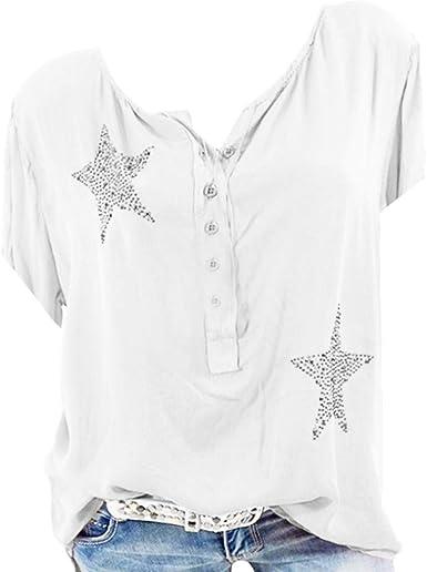 KPPONG Blusa para Mujer con botón, Cinco Puntas, Estrella, Camisa de Manga Corta, Escote en O Blanco XXXXXL: Amazon.es: Ropa y accesorios