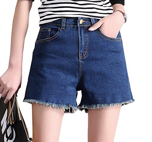 Magike Jean Court Bleu Femme t Large Taille Hot Shorts High Waist Pantalon Court lasticit Bleu