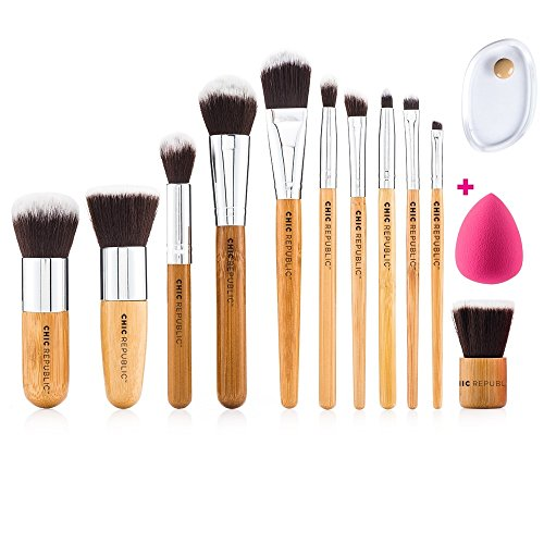 NEW 11 Piece Professional Makeup Brush Set with Premium Synthetic Hair and Natural Bamboo handles for Face, Cheeks and Eyes, plus includes a BONUS Complexion Beauty Sponge Blender! ()