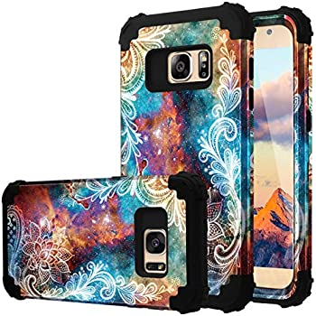 Fingic Galaxy S7 Case, S7 Case, Floral 3 in 1 Heavy Duty Protection Hybrid Hard PC & Soft Silicone Rugged Bumper Anti Slip Full-Body Shockproof Protective Case for Samsung Galaxy S7 G930, Mandala
