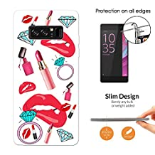 001719 - Girl Stuff Collage Lipstick Sexy Lips Gloss Diamond Ring Blong Design Samsung Galaxy Note 8 Fashion Trend CASE Ultra Slim Light Plastic 0.3MM All Edges Protection Case Cover-Clear
