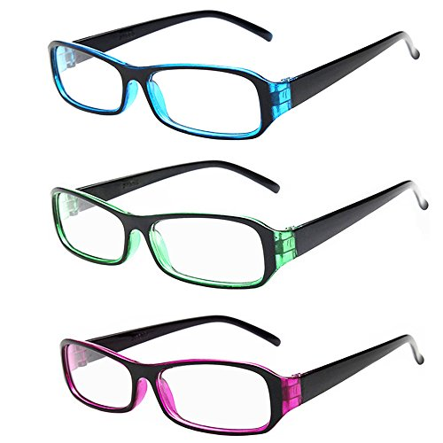 [FancyG® Vintage Inspired Classic Rectangle Glasses Frame Eyewear Clear Lens 3 Pieces Set 23] (Funny Weird Halloween Costumes)