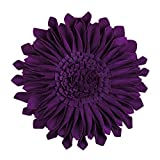 JWH Handmade Accent Pillows 3D Round Sunflower Cushion Decorative Pillowcases with Insert Car Travel Home Couch Bed Living Room Decor 13 Inch / 33 cm Wool Purple