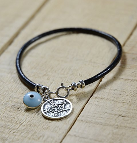 Safe Keeping Solomon Seal & Light Blue Evil Eye Charm Bracelet for Women
