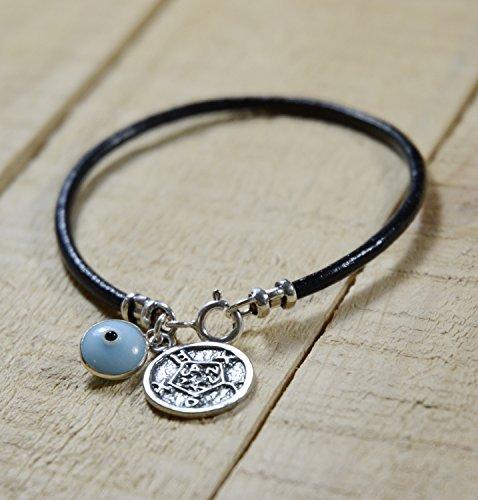 Safe Keeping Solomon Seal & Light Blue Evil Eye Charm Bracelet for Women