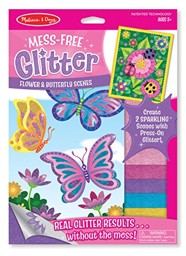 Melissa & Doug Mess-Free Glitter Activity Kit - Flower and Butterfly (Butterfly Craft)