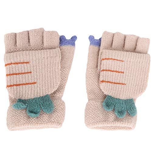 Cables Thermal Beige - Convertible Flip Top Gloves,Winter Warm Knitted Fingerless Gloves with Mitten Cover for Toddler Kids Girls Boys 5-10 Yrs (Beige, Carrot Style)