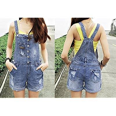 AvaCostume Womens Wash Jumper Denim Overall Shorts: Clothing