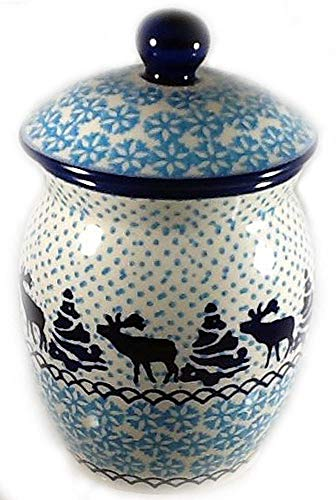 Polish Pottery Sugar Jar - Polish Pottery 1.75 Cup Multi-Use Lidded Canister Sugar Bowl Treat Jar Bath Accent in Moose