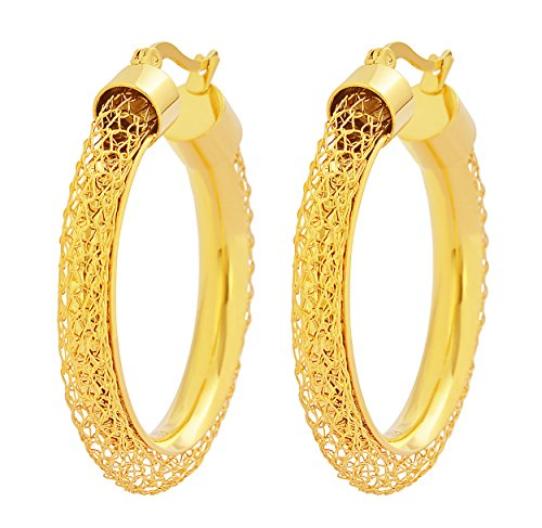 (Edforce Women's 18k Gold Plated Round Hollow Mesh Hoop Earrings, (35mm))