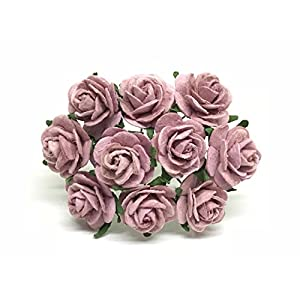 2cm Mauve Paper Flowers Paper Rose Artificial Flowers Fake Flowers Artificial Roses Paper Craft Flowers Paper Rose Flower Mulberry Paper Flowers, 25 Pieces 72