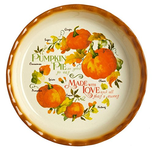Pumpkin Pie Ingredients Fluted Edge Ceramic Pie Plate, 10-Inch