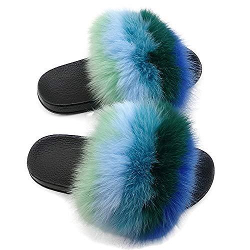 Yu Li Women Real Fox Fur Feather Vegan Leather Open Toe Single Strap Slip On Sandal Color 6 41