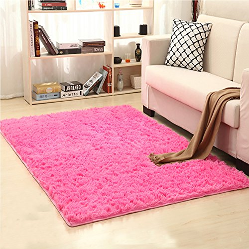 LOCHAS Soft Indoor Modern Area Rugs Fluffy Living Room Carpets Suitable for Children Bedroom Decor Nursery Rugs 4 Feet by 53 Feet Rose Red