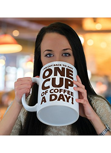 BigMouth Inc. One Cup of Coffee Gigantic Mug, Funny Huge Ceramic Gag Gift for Coffee Lovers, Holds up to 64 - Mug Gift Ceramic Coffee