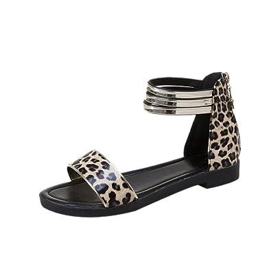 Sandales Pour Femmes,Femmes Chaussures Plates Bohème Femmes Sandales D Été Chaussures  Peep- 00e8fb0d4872