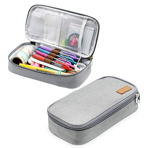 Pencil Pouch | Big Capacity Pencil Stationary Case | Gray Storage Organizer | Pencils Highlighters Bag | Gel Pen Markers | Compartment Box | School Office Supplies Students