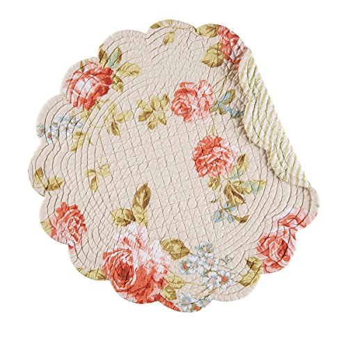 C&F Home, Whitney Collection, Quilted Reversible Round Placemat - Floral - Set of 4 ()