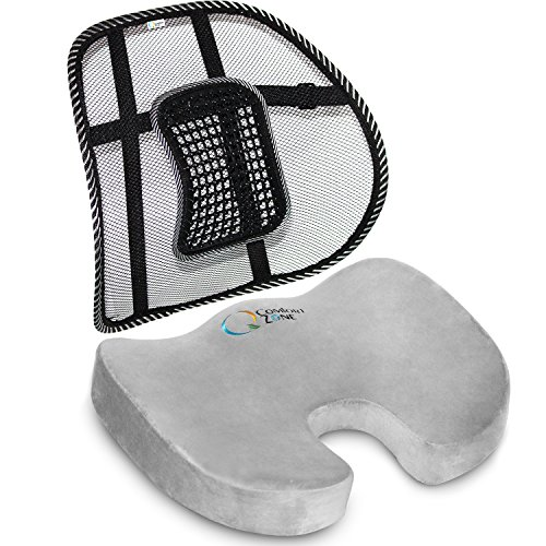 Sienna Saddle - Memory Foam Seat Cushion & Mesh Lower Back Support Bundle: Orthopedic Design - Relieves Coccyx & Tailbone Pain - Improves Posture - Portable Compact Washable - Comfort At Home Work Car