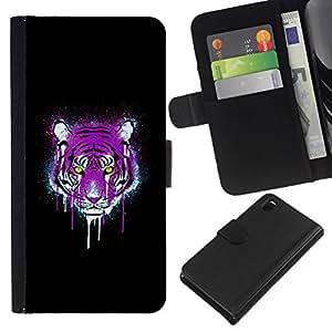 // PHONE CASE GIFT // Moda Estuche Funda de Cuero Billetera Tarjeta de crédito dinero bolsa Cubierta de proteccion Caso Sony Xperia Z3 D6603 / Neon Pink Purple Tiger /