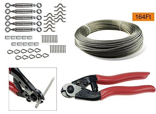 Muzata 5 Pack Heavy Duty Stainless Steel Cable Railing Kits Set with 1/8Inch 164Feet Wire Rope Cable and Cable Cutter, For Wood Posts, DIY Balustrade Kit with Jaw Swage Fork Turnbuckle