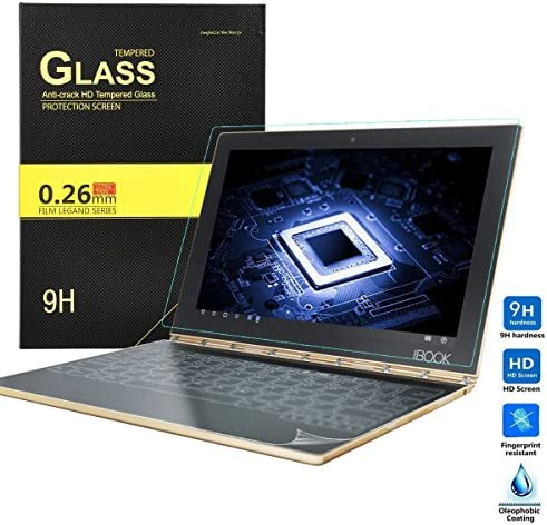 KuGi Protector and Keyboard Screen Protector for Lenovo Yoga Book, 1 Pack 9H Hardness Tempered Glass Screen Protector and 3 Pack HD Clear Keyboard ...