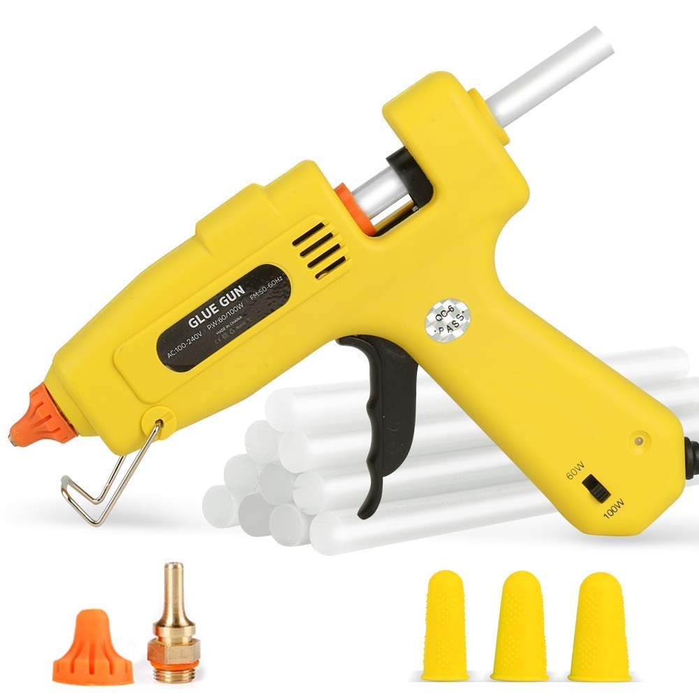Hot Glue Gun Full Size - 60/100W Dual Power High Temp Heavy Duty Melt Glue Gun Kit, with 10 Pcs Premium Glue Sticks and 3 Pcs Finger Caps, for DIY,Small Arts Craft Projects,Decoration and Gifts