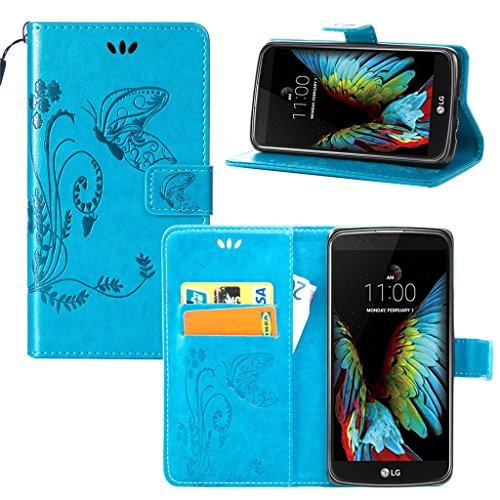 Erdong® Magnético Folio Flip Caso Con pata de cabra titular de la tarjeta Para LG K10, Elegant Simple Book-style [Azul flor de mariposa] patrón de impresión cuero del soporte Folio Pouch Protectora de
