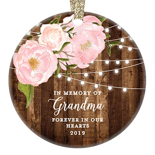 In Memory of Grandma 2019 Christmas Ornament Grandmother Remembrance Memorial Gift Forever In Our Hearts Pretty Rustic Farmhouse Family Keepsake 3
