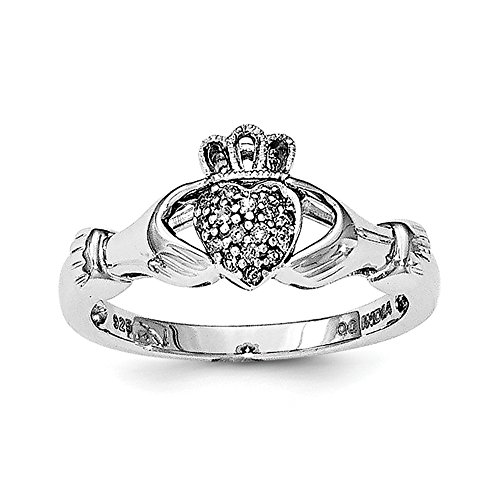 Size 7 Solid 925 Sterling Silver Diamond Claddagh Ring (.08ct.)
