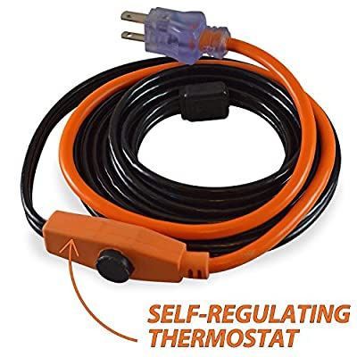 9milelake Cold Weather Pipe and Valve Heating Cable with Built-in Thermostat 38°f Off 45°f On - 12 Feet