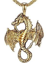 Hip Hop Vintage Titanium Steel Wings Dragon Tag Pendant Chain Necklace