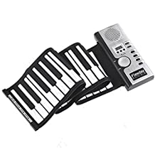 Alizzee Children Beginners Roll-Up Flexible full 61 Keyboard Soft Responsive Synthesizer Electronic Piano Keyboard Built-in Speaker, Intelligence Education Electronic Organ Music Keyboard Kids Small Electronic Keyboard Piano Organ Musical Teaching Keys Keyboard Toy for 2-10 years Kids Gift