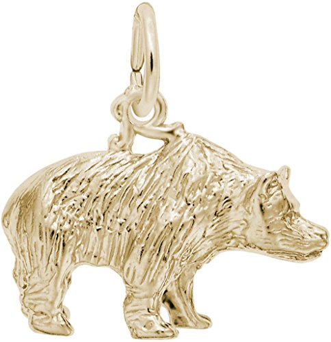 - Rembrandt Grizzly Bear Charm - Metal - Gold Plated Sterling Silver