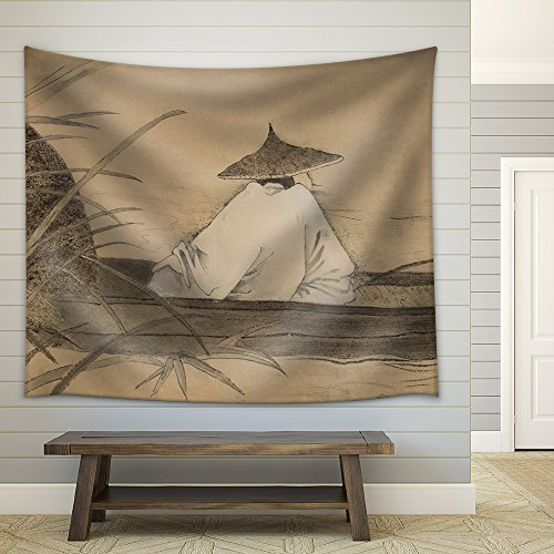 Chinese Fishermen in the Boat and Reeds Fabric Wall Tapestry
