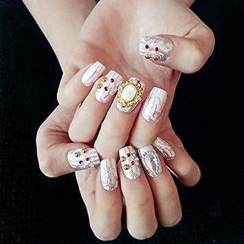 24 pcs 12 diferentes tamaños boda falsos clavos grandes perlas estilo con brillantes cuadrado color blanco Full uñas postizas con pegamento adhesivo: ...